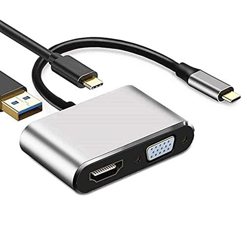 BAOZUPO Estación de Acoplamiento para portátiles universales, USB C a HDMI VGA 4K Adaptador 4-IN-1 Tipo C Hub a HDMI VGA USB 3.0 Adaptador de multipuerto AV Digital con Puerto de Carga USB-C PD