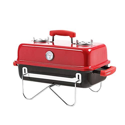 JiaJu Tragbarer Holzkohlegrill Grill,Outdoor Emailiert Klapp Grill Picknickgrill Für Garten Terrasse Camping (Gürtel Thermometer) (Farbe : Rot)