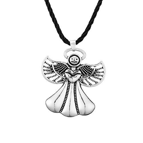Chereda Collar de plata antigua con colgante de ángel de filigrana para mujer, estilo vintage, estilo punk eslavo, amuleto de alas de ángulo