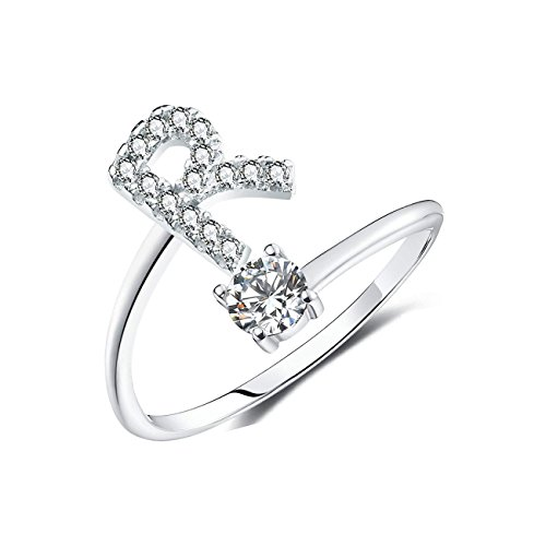 BRBAM Adjustable Crystal Inlaid Initial Ring Free Size Stackable Alphabet Letter Knuckle Rings Bridesmaid Gift (R)
