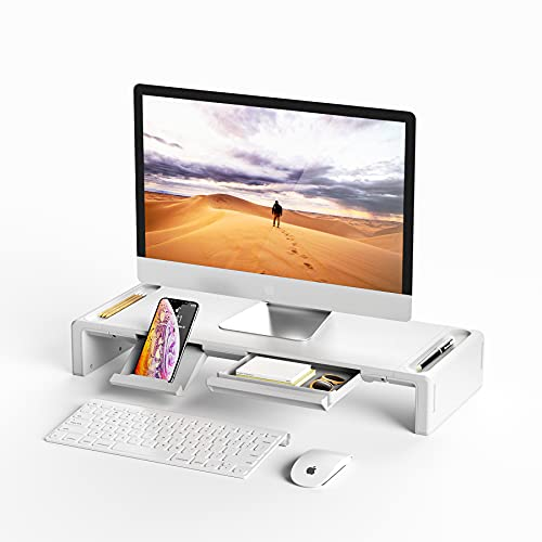Monitor Stand Riser, OImatser Foldable Computer Monitor Riser, Adjustable Height Computer Stand and Storage Drawer & Pen Slot, Phone Stand Compatible Computer, Desktop, Laptop, Save Space (White)