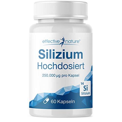 effective nature Silizium Hochdosiert - aus Bambusextrakt - mit Zink zur Unterstützung normaler Knochen, Haare, Nägel & Haut - hohe Bioverfügbarkeit - vegan - hergestellt in Deutschland, 60 Kapseln