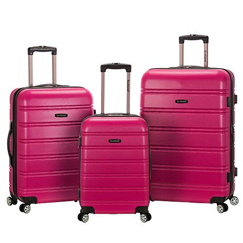 Rockland Melbourne Hardside Expandable Spinner Wheel Luggage, Magenta, 3-Piece Set (20/24/28)