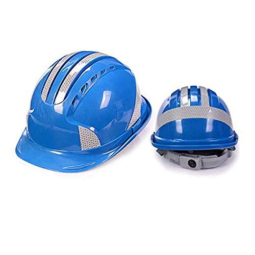 Qinsir Unisex Casco De Construcción,Casco Seguridad Sombrero Duro,Ventilación De Seguridad ABS Casco Casco De Rayas Reflectantes Casco De Trabajo Arquitecto,Escalera,Ingenieros,Azul