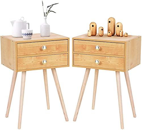RELAX4LIFE Nachttisch mit 2 Schubladen, Nachtschrank aus Holz, Beistelltisch für Schlafzimmer & Wohnzimmer & Flur, Nachtkommode Beistellschrank Flurtisch Telefontisch (Natur-40 x 30 x 60,5 cm)
