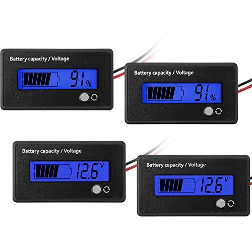 2 Medidores de Batería DC 12V 24V 36V 48V 72V con Alarma, Indicador de Voltaje de Capacidad de Batería Monitores de Indicador de Batería de Lones de Litio y Plomo-Ácido (Azul)