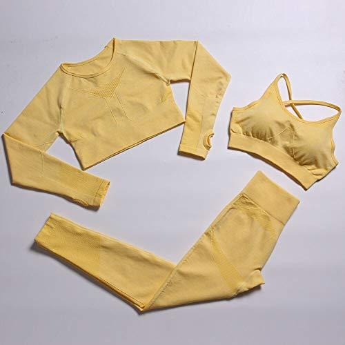 YEESEU Fitness Fitness Set de Yoga Conjunto sin Fisuras Leggings Gimnasio Ropa Traje Traje de Cintura Alta Pantalones Deportivos Bras de Ejercicios Juego (Color : Yellow, Size : XL)