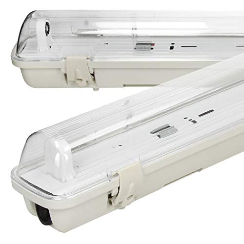 ECD Germany Apparecchio Tubolare addato per Tubo LED T8 150 cm - IP65 Impermeabile - Plafoniera Stagna 150 cm per Tubo Fluorescente a LED T8 Plafoniera Stagna Interno ed Esterno Apparecchio Tubolare