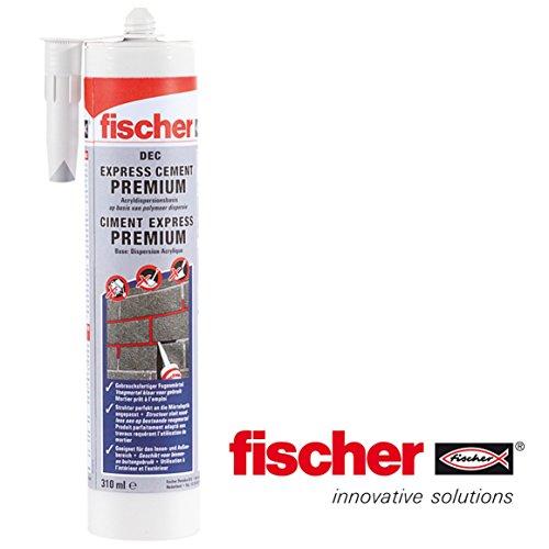 Fischer Reparaturmörtel Express Cement Premium DEC ZEG zementgrau Flexible Riss Versiegelung Innen und Außenbereich geeignet 534474