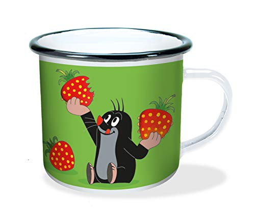 Trötsch Der kleine Maulwurf Emaille Becher Erdbeere: Kaffeetasse Teetasse Geschenkidee Geschenk Tasse Emaillebecher: in Geschenkverpackung
