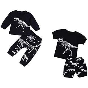 erthome Baby Boy Clothes Sets, 1-7 Years Newborn Toddler Summer Baby Boy Pajamas Cartoon Dinosaur Print Tops T-Shirt Shorts Pants Outfits Set (18-24 Months)