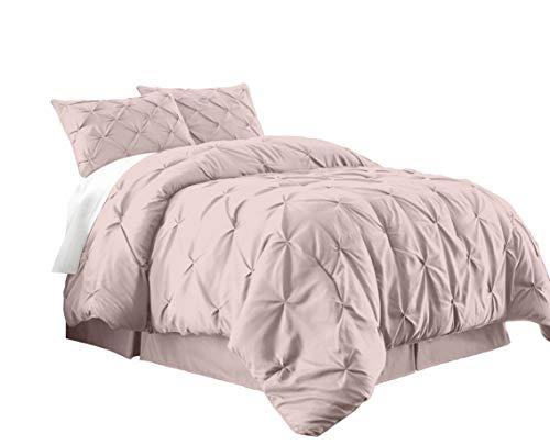 Chezmoi Collection Berlin 3-Piece Pintuck Pinch Pleat Bedding Comforter Set (Full, Pink)