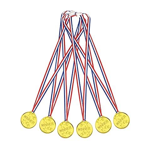 EUROXANTY Medalla de Estrellas Dorada | Medalla para Premios | Premios para Niños | Trofeo | Medalla para Aprendizaje | 34 X 3.5 X 0.4 cm | Pack de 6 Medallas |