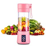 Portable Blender, Personal Size Eletric USB Juicer Cup, Fruit, Smoothie, Baby Food Mixing Machine with Updated 6 Blades,Magnetic Secure Switch Electric Fruit Mixer for Superb Mixing 380ml (Pink)