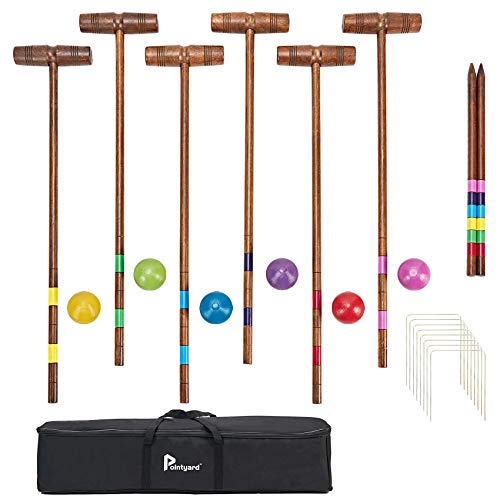Pointyard 32'' Six Player Croquet Set, Regulation [Classic Vintage] Croquet Set with Wooden Mallets/Colored Ball/Wickets/Stakes for Adults/Kids/Family-Perfect for Lawn/Backyard Game/Park