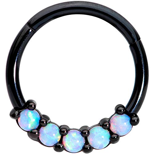 Body Candy 16G Black PVD Steel Hinged Seamless Segment Cartilage Septum White Synthetic Opal Nose Hoop 3/8