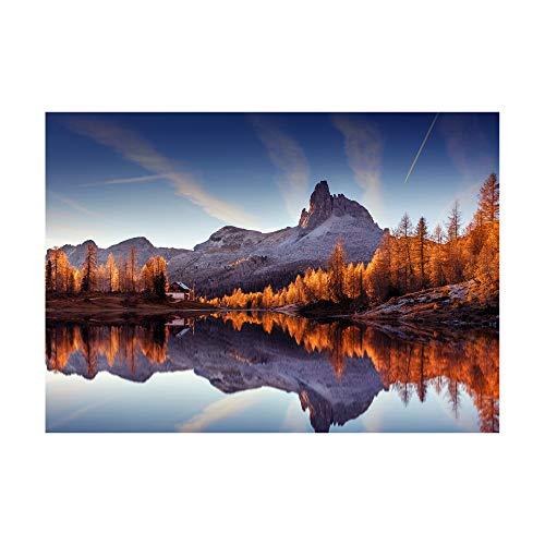Foto-Poster Landschaft Berge Spiegel am See Wandbild Wandbilder Dekoration | 30 x 42 cm Kunstdruck