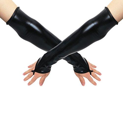 VIccoo Sexy Largo Negro metálico Guantes sintéticos Mangas del Brazo de Cuero Traje Nuevo - Negro