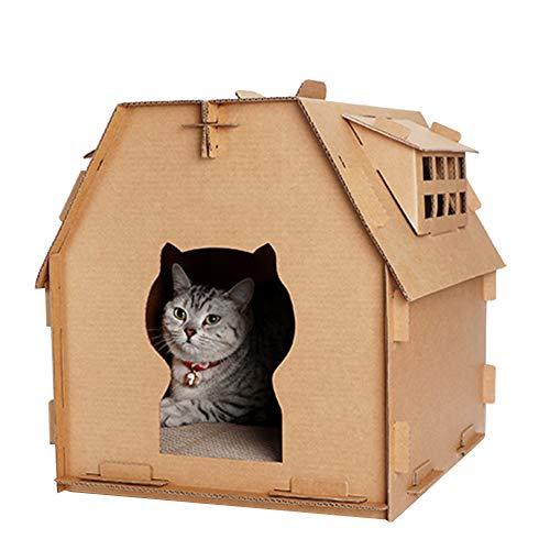 Lionina Haustier Katze Möbel, Wellpappe Cat Scratcher Karton, lustige DIY Pet House Tower Wohnung mit Fenster Cat Indoor House