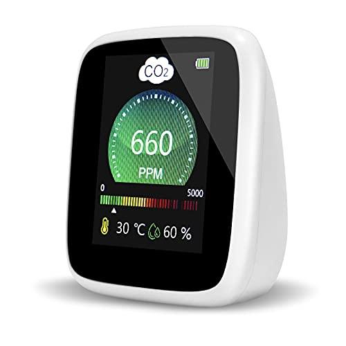 Medidor de CO2,Mini Detector CO2 de 5000 ppm,Monitor de Calidad de Aire Interior con Termómetro e Higrómetro para el Hogar,Oficina,Coche,Gimnasio