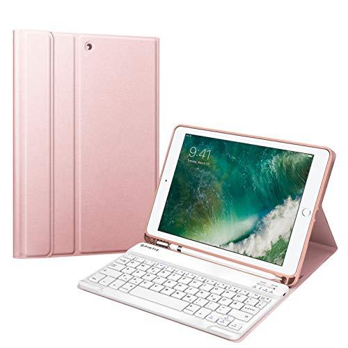 Fintie Tastatur Hülle für iPad 9.7 2018 (6. Generation), Soft TPU Rückseite Gehäuse Keyboard Hülle mit eingebautem Pencil Halter, magnetisch Abnehmbarer QWERTZ Bluetooth Tastatur, Roségold