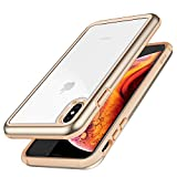ZUSLAB [Iron Shield] for Apple iPhone Xs Max Case 2018 with Military Grade Drop Tested, Aluminum + TPU Bumper and Transparent Hard Clear Back Cover, Protective Shockproof Heavy Duty Case - Beige/Gold