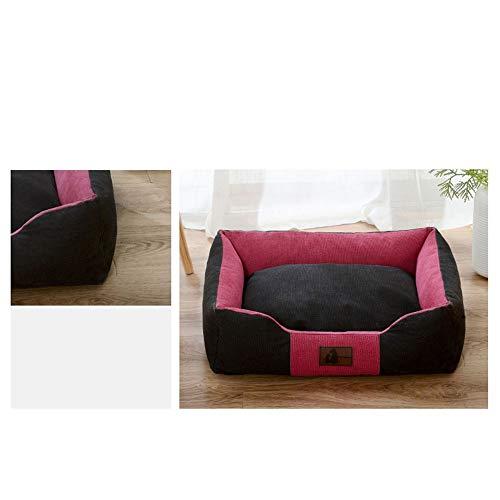 KDXBCAYKI vierseizoenen universeel canvas canile kattentoilette Pet Nido Pet mat afneembaar en wasbaar geheugenschuim premium bed voor honden en katten chaise lounge hoekbank, M, Zwart Roze