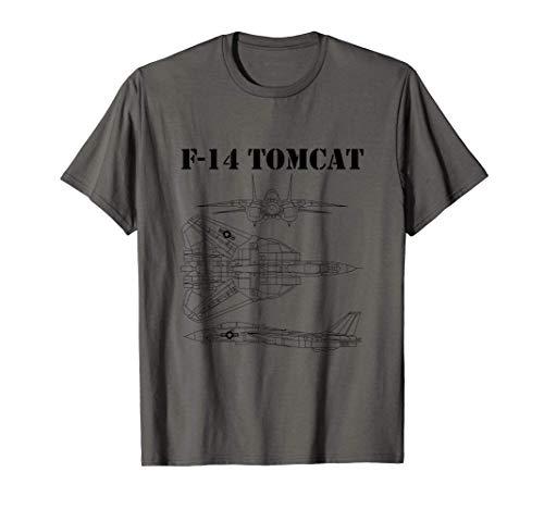 Vintage Black F14 Tomcat Airplane Schematic F-14 Jet Camiseta