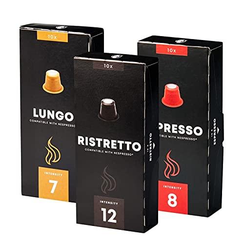 Diet cafe' nespresso compatible pack 3 confecciones ristretto espresso lungo 30 capsulas