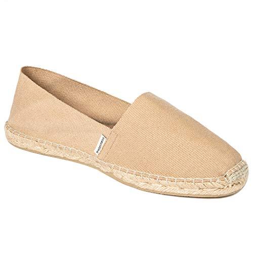 weltenmann Klassische Herren Slip-on Espadrilles aus Baumwolle mit Schuhbeutel, Camel, 44, Handmade in Spain