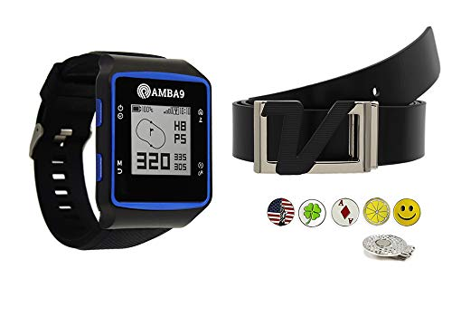 Learn More About Amba9 GPS Golf Watch Bundle with Volvik Italian Genuine Leather Belt, 5 Ball Marker...
