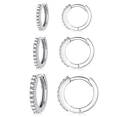 Silver Hoop Earrings for Women, 3 Pairs Small Sterling Silver Huggie Earrings | Tiny Cubic Zirconia Cartilage Cuff Earrings Hoop Piercing Jewellery for Girls Men Teens (8mm/10mm/12mm)