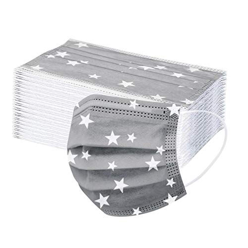 10/30/100Pcs Face Covering Unisex Disposable_Face_Masks for Adult Women Men Face Bandana Breathable 3-ply Non-Woven Elastic Earloop Mouth Shield Outdoor Protection (Gray, 50pcs)