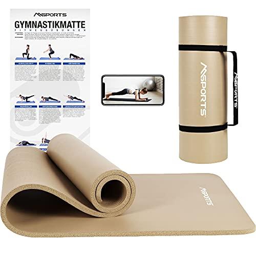 MSPORTS Gymnastikmatte Premium inkl. Tragegurt + Übungsposter + Workout App I Hautfreundliche Fitnessmatte 190 x 80 x 1,5 cm - Beige-Caramel - Phthalatfreie Yogamatte