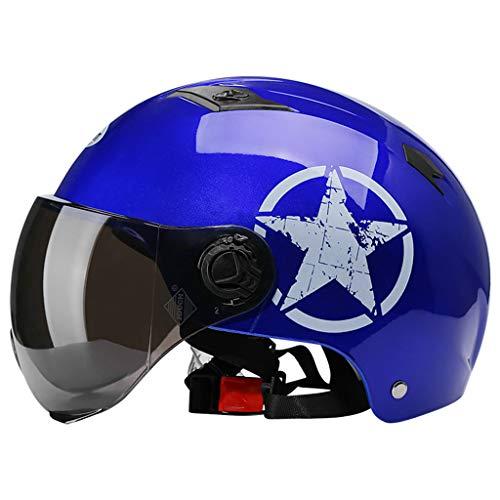 QGY Erwachsene Männer & Frauen mofa Helm | Jethelm Motorradhelm | Halbschale Helm mit Abnehmbaren Brillen Visier Shield | Fahrradhelme | ECE Zertifiziert