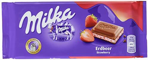 Milka Erdbeer - Zartschmelzende Schokoladentafel mit einer Füllung mit Erdbeergeschmack - 22 x 100g