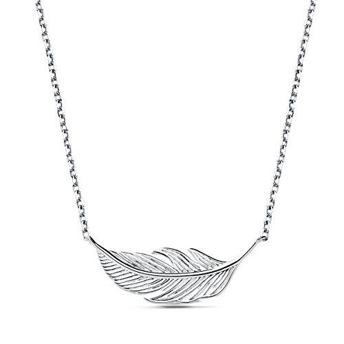 Iyé Biyé Jewels - Collar Colgante Mujer niña Plata de Ley 925 Pluma 22 Mm Cadena Forzada 42 cm Ajustable.