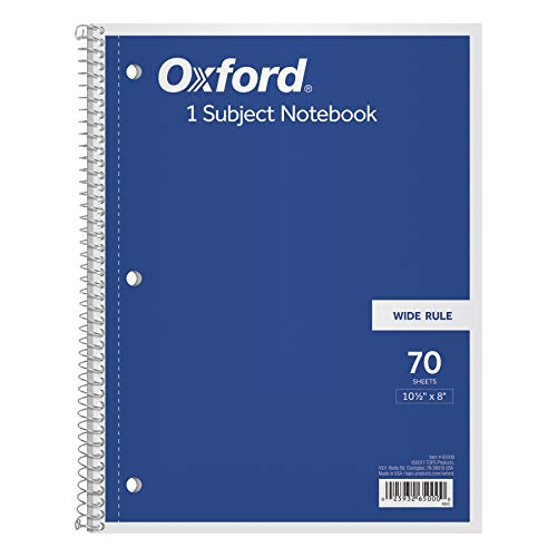 TOPS 1-Subject Spiral Notebook, Wide Rule, 8 x 10.5 Inch, Bright White Paper, 70 Sheets per Book, Cover Color May Vary, One Notebook (65000)