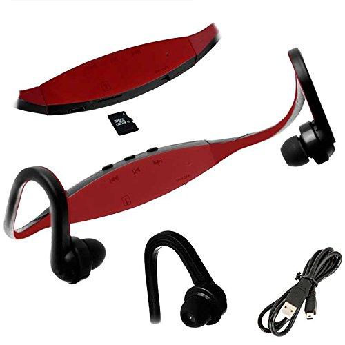 OcioDual Auriculares Reproductor MP3 Deportivos Sin Cables Micro SD USB Radio FM Rojo
