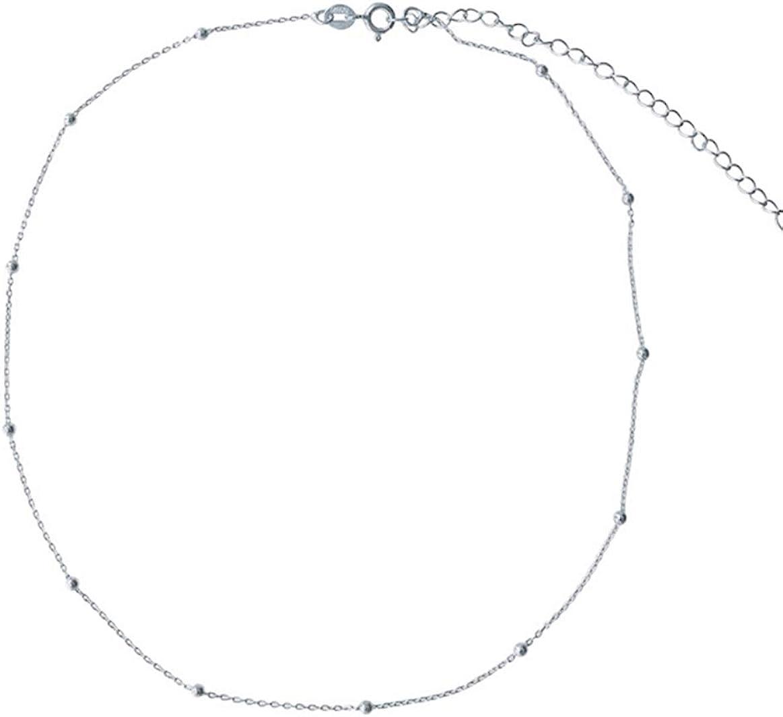 Amkaka Minimalist Sterling Silver Choker Necklace Thin Bead Ball Necklace
