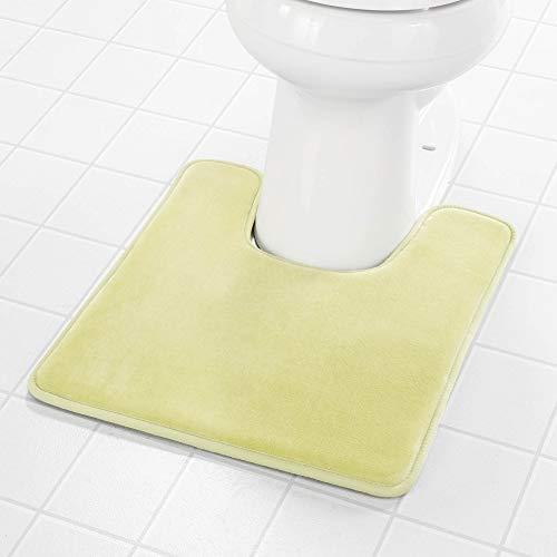 Genteele WC-Vorleger, Memory-Schaum, U-förmig, WC-Vorleger, rutschfest, maschinenwaschbar, saugfähig, super gemütlicher Samt, Badezimmerteppich, Limettengrün