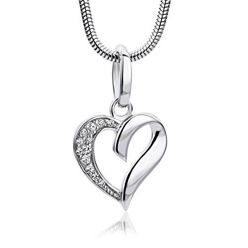 Miore Kette - Halskette Damen Silberfarbig 925 Sterling Silber Kette mit Herz mit Rundschliff Zirkonia Steinchen 45 cm
