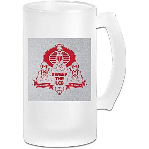 Taza de jarra de cerveza de vidrio esmerilado impresa de 16 oz - GI Joe Cobra Karate Kid Cobra Kai Mix - Taza gráfica