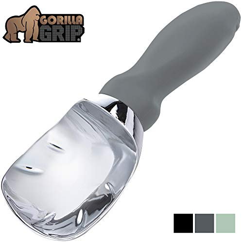 Gorilla Grip Premium Ice Cream Scoop, Dishwasher Safe Scooper with Comfortable Grip Handle, Heavy Duty Durable Design, Professional Kitchen Tool Perfect for Gelato, Cookie Dough, Sorbet, Gray