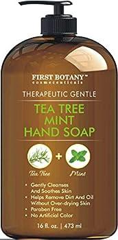 Tea Tree Mint Hand Soap - Liquid Hand Soap with Peppermint Jojoba & Coconut Oil Multipurpose Liquid Soap with Pump Dispenser Natural Bathroom Soap & Liquid hand wash - HUGE 16 oz