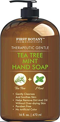 Tea Tree Mint Hand Soap - Liquid Hand Soap with Peppermint, Jojoba & Coconut Oil Multipurpose Liquid Soap with Pump Dispenser Natural Bathroom Soap & Liquid hand wash - HUGE 16 oz