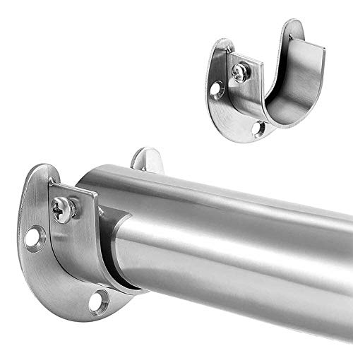 YuGan Stainless Steel Clothes Rail Closet Rail Curtain Rod Shower Curtain Closet U-vormige Rod Closet Pole Sockets End Steunen (Color : 32mm)