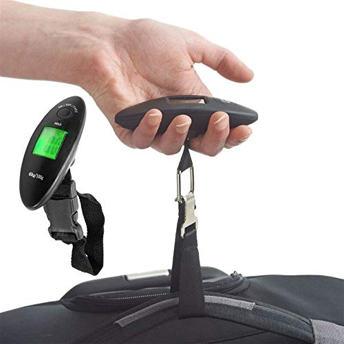 Travel Hanging Luggage Scale Handheld LCD Digital Electronic Weight 90lb / 40kgPortableLuggage Weight with Hook Strong Straps Suitcase Scales Weights with Tare Function (Black, One Size)