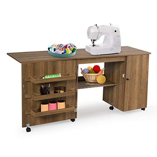 Giantex Folding Sewing Table, Multifunction Large Sewing Craft Cart with Storage Shelves and Lockable Casters, Home Apartment Space-Saving Sewing Cabinet for Small Spaces (Natural, 62.5''x20''x29'')