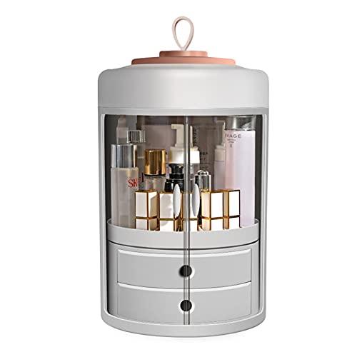 Caja De Almacenamiento Cosmético Caja De Almacenamiento Cosmético Caja De Cuidado De La Piel Giratoria Tocador Portátil Caja De Cosmética(Color:Rosado)